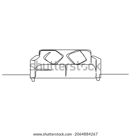 Vector continuous one single line drawing icon of sofa and pillows furniture in silhouette on a white background. Linear stylized.