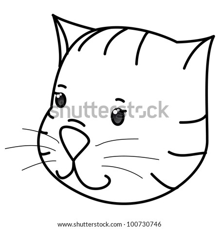 Vector contour cat head coloring isolated on white for Cat head coloring page