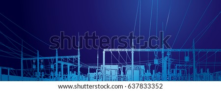 Vector contour silhouette. Substation, powerhouse. High-voltage line. Poles cable Background