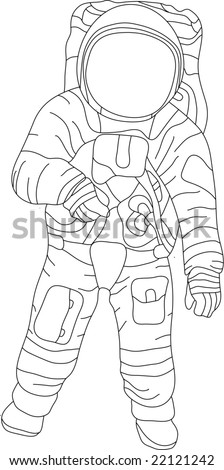 vector - contour spaceman isolated on white background