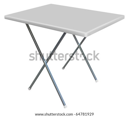 vector convertible plastic table on white background - stock vector