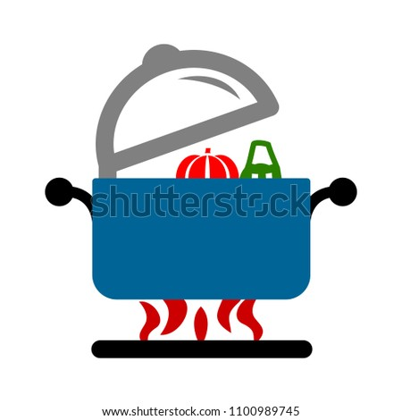 vector cooking pot illustration - kitchen utensil symbol, food icon