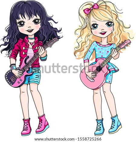 vector cool rock stars brunette