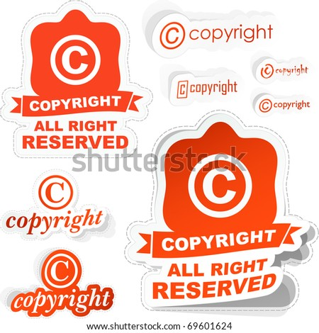 Vector copyright sticker set for sale.