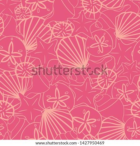 vector coral pink seashells
