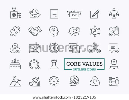 Vector Core values icon set with outline symbol of loyalty, optimism, efficiency, honesty for company website