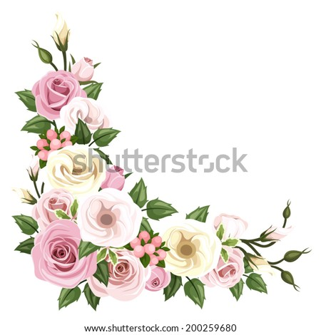Vector corner background with pink and white roses and lisianthus flowers and green leaves.