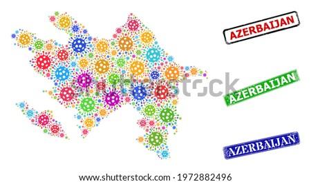 Vector coronavirus mosaic Azerbaijan map, and grunge Azerbaijan seal stamps. Vector colored Azerbaijan map mosaic, and Azerbaijan unclean framed rectangle stamp seals.