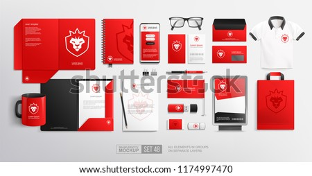 Vector Corporate Brand Identity items and objects Mockups set. Stationery Red design mockups with lion crown icon logo. Pealistic Branding mock-up of folder, blank, corporate red mug for presentation