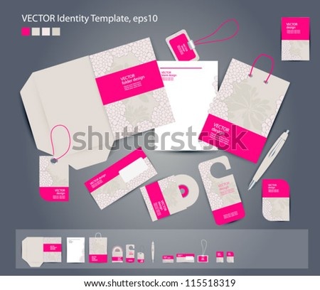 Vector corporate design for business: folder, business card, invitation card, packege, badge, blank, pen, dvd cover, envelope on floral background .
