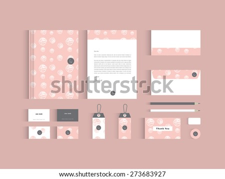 Vector corporate identity mock up. Pink rose seamless pattern with abstract symbol.