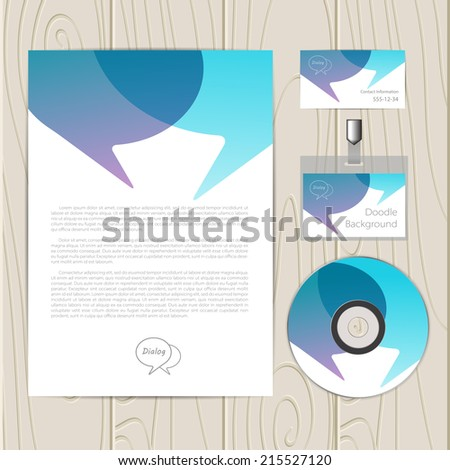 Vector corporate identity template with dialog elements. Business card, disc, document, badge. Eps10