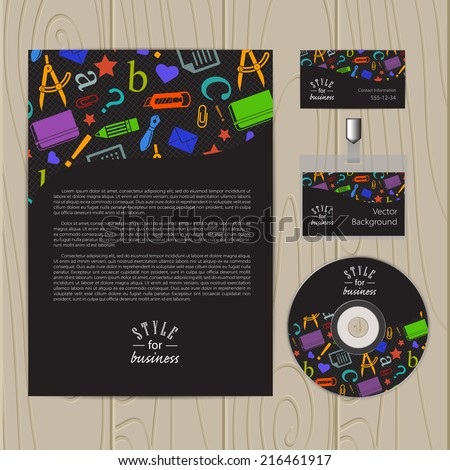 Vector corporate identity template with school elements. Business card, disc, document, badge. Eps10
