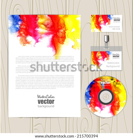 Vector corporate identity template with watercolor elements. Business card, disc, document, badge. Eps10