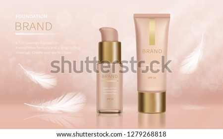 Vector cosmetic ad poster. Foundation with full coverage and weightless formula, make-up product in glass bottle with dispenser and tube with golden cap near flying white feather. Promo banner concept