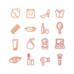 Vector cosmetics and beauty icons in trendy linear style - set of signs related to women