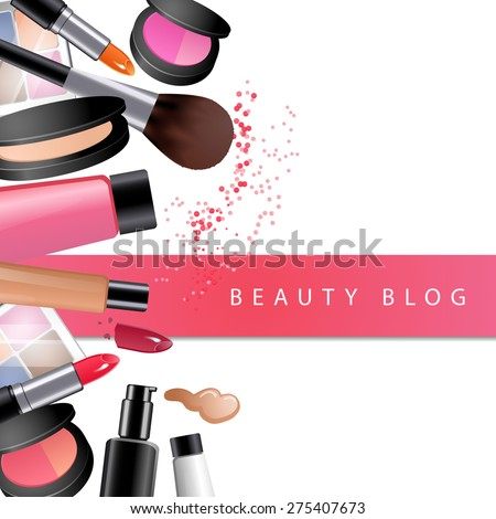 Vector cosmetics on table. Frame for web banner or beauty blog with pink ribbon. Big set. Close up top view.