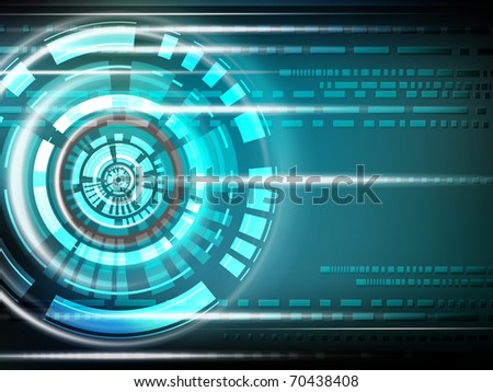 Vector cosmic Background - with lines and circles -  energy blue