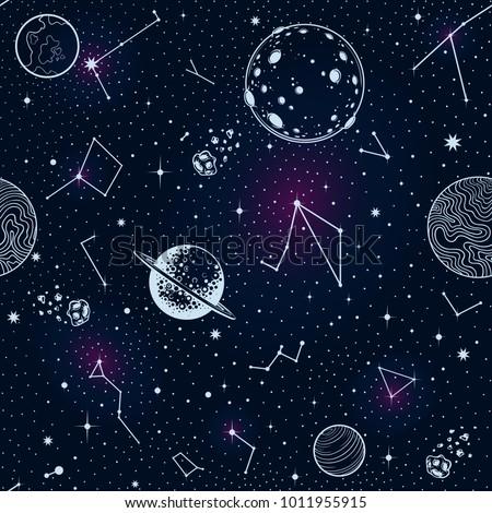 vector cosmos planets seamless