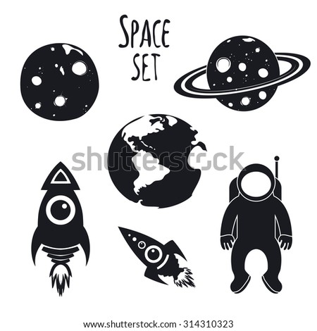 Vector cosmos space set. Illustration with spaceman, rockets, Earth, Moon and Saturn