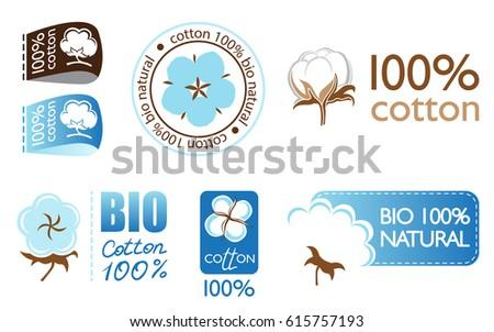 Vector cotton icons set collection logo
