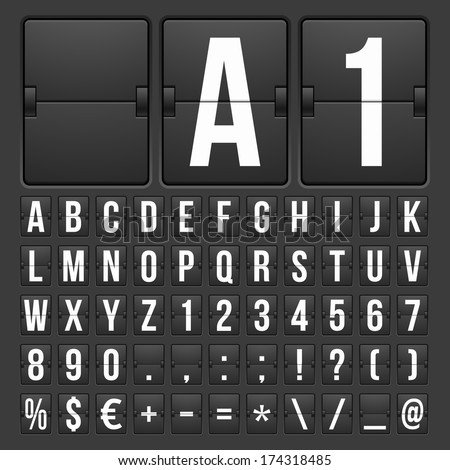 Vector Countdown Timer and Date, Calendar Scoreboard Numbers