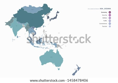 vector countries map of oceania and asia