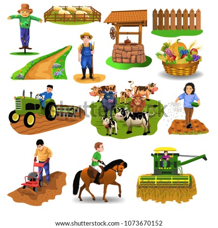 stock-vector-vector-countryside-set-of-clip-arts-like-harvester-sowing-seeds-riding-a-horse-plowing-farm