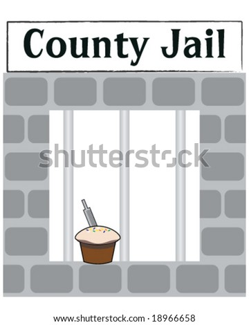 vector county jail cell window with cake with file in it for escaping