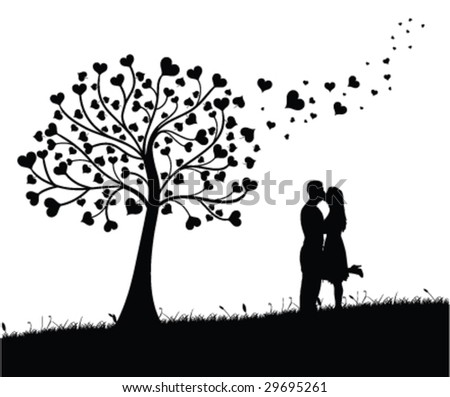 couple kissing silhouette image. couple kissing silhouette.