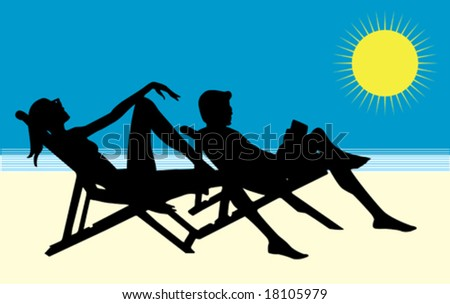 vector: Couple on the beach - stock vector