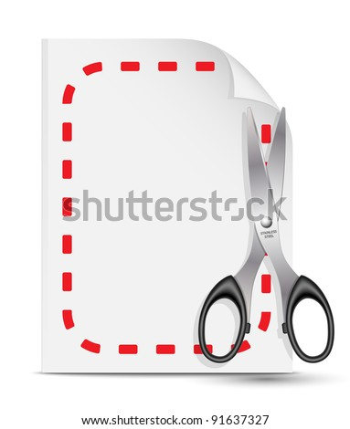 Vector coupon icon with scissors and paper sheet