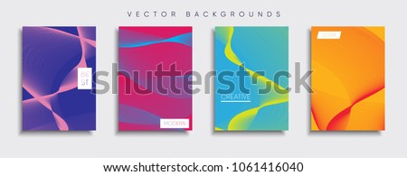 Stock Photo Vector cover designs. Future Poster template. Smartphone modern background set.