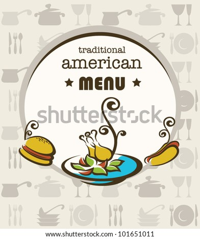 vector cover of traditional american menu