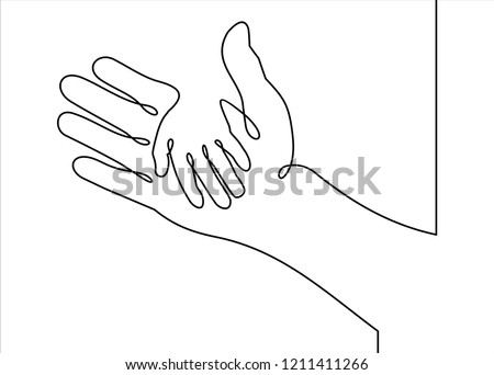 Vector cover two hands, help and solidarity- continuous line drawing