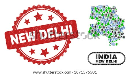 Vector Covid Christmas mosaic New Delhi City map and New Delhi textured stamp seal. New Delhi watermark uses rosette shape and red color.