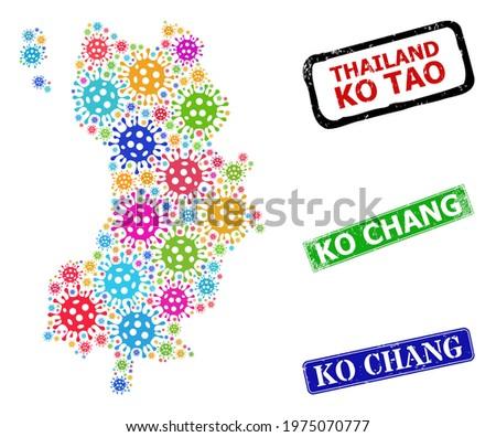Vector Covid-2019 mosaic Ko Tao map, and grunge Ko Chang seals. Vector multi-colored Ko Tao map mosaic, and Ko Chang corroded framed rectangle stamp seals. Zdjęcia stock ©