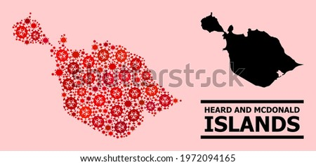 Vector covid-2019 mosaic map of Heard and McDonald Islands done for health care wallpapers. Red mosaic map of Heard and McDonald Islands is done from biohazard covid viral elements.