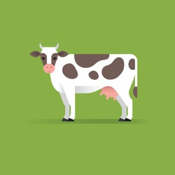 Vector cow illustration isolated on green background. Milk, dairy, farm product design element.