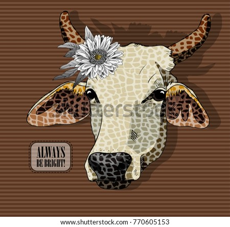 vector cow with flower hand
