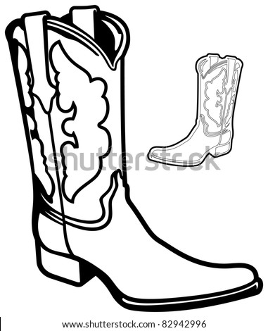 Vector Cowboy Boot (with alternative outlined version) - stock vector