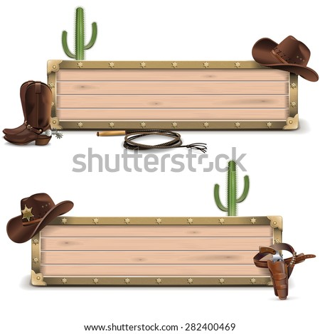 vector cowboy signboards