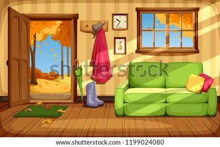 Vector cozy autumn room interior.