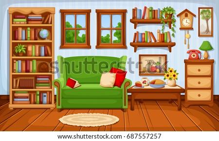 vector cozy living room