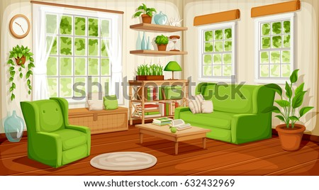 vector cozy living room