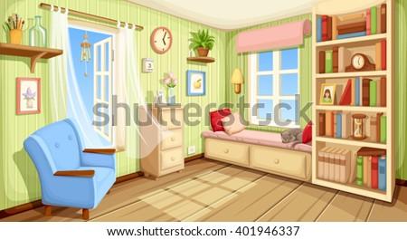 vector cozy room interior with