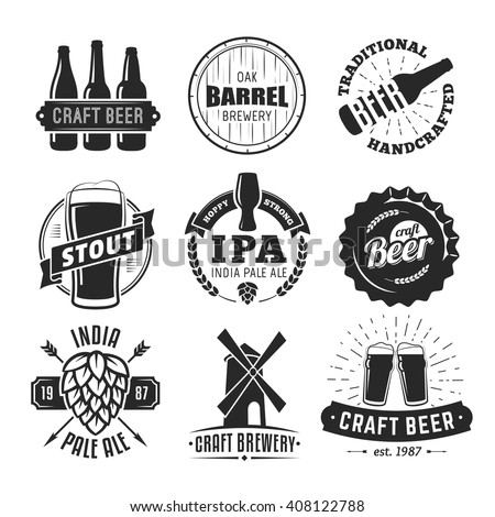 Vector craft beer badges. Vintage labels and emblems.