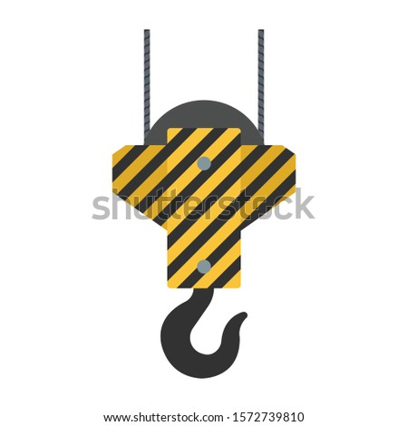 Vector crane hooks. A set of hooks in a flat style for web design or printing, etc