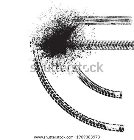 Vector Crash test  Print . Textured Tire Track . Design Element . Car tread silhouette . Mud splash grunge texture. Tyre track banner