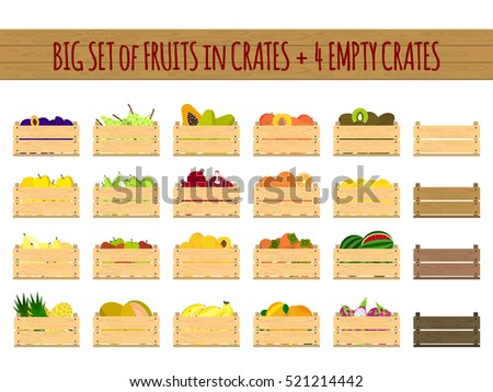 Vector crates with fresh fruits and vegetables. Natural, healthy food concept. Organic fruits and vegetables from the farm collected in the wooden box. Flat design style.